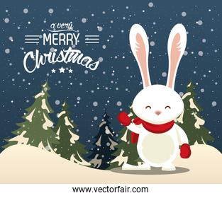 happy merry christmas card with cute rabbit