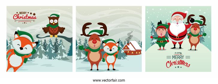 happy merry christmas card with cute characters