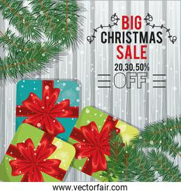 happy merry christmas sale card with gifts and leafs