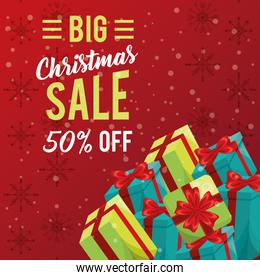 happy merry christmas sale card with gifts