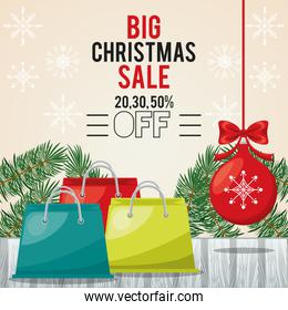 happy merry christmas sale card with shopping bags and ball