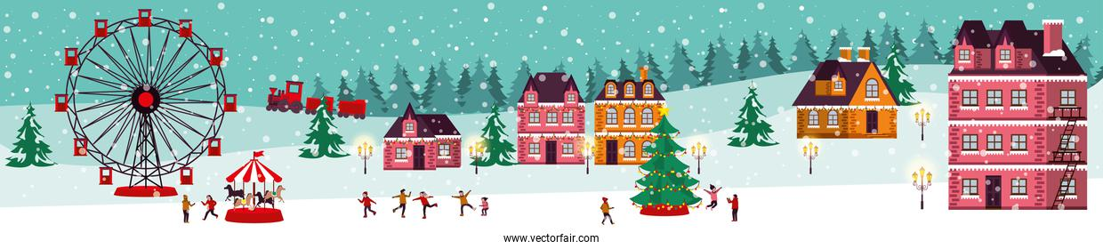 christmas winter scene with panoramic wheel and people