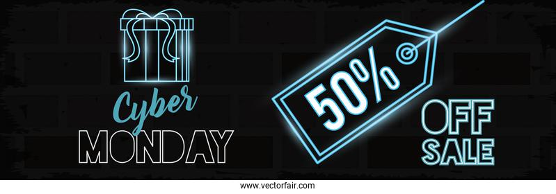 cyber monday day poster with tag and gift