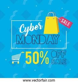 cyber monday day poster with shopping bag
