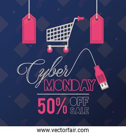 cyber monday day poster with shopping cart