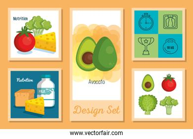 cartels set of healthy food icons