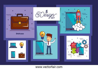 five designs of startup business icons