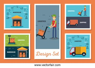 designs set of logistic service icons