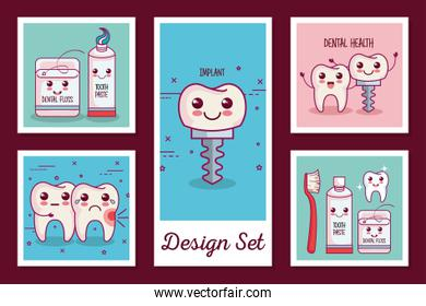 designs set of dental health icons