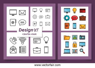 collection of six designs of business icons