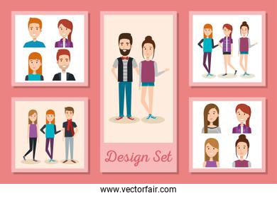 designs set of young people