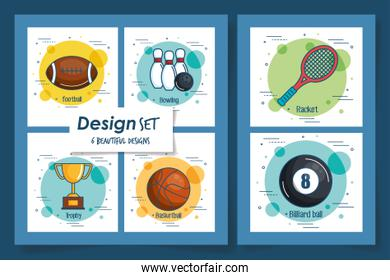 six designs of sport icons