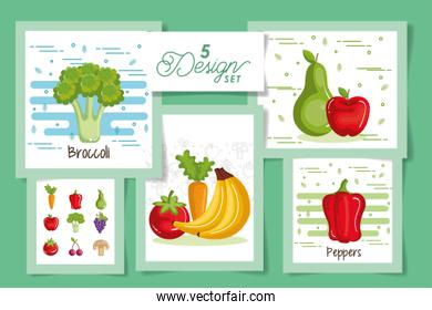 five designs of fruits and vegetables