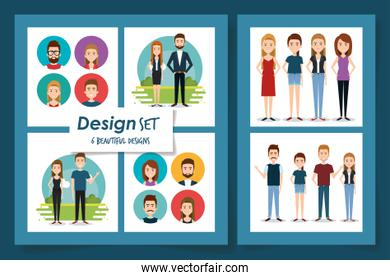 six designs of young people
