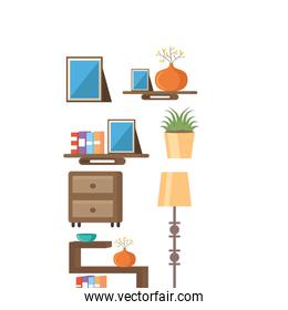 Living room objects vector design