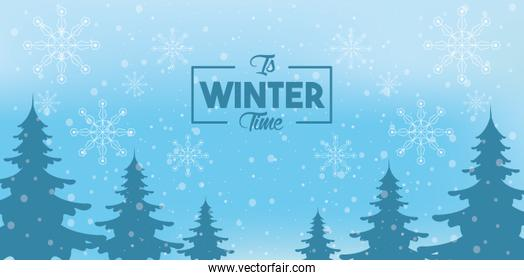 blue winter poster with snowflakes and forest scene