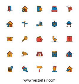bundle of real estate set icons