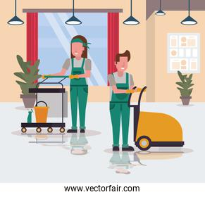 couple workers in housekepping with shining