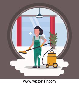 woman worker in housekepping with vacuum cleaner