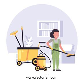 woman worker in housekepping with equipment