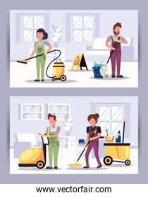 team of workers housekepping with equipment characters