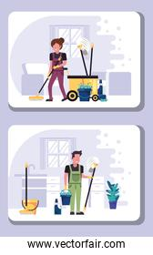 couple workers in housekepping with equipment
