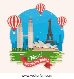 travel around the world design with set monuments