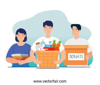 people with box and basket of charity donation