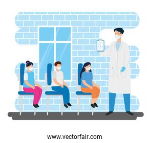 doctor with children in consulting room