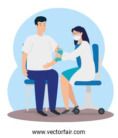 doctor female vaccinating to young man in consulting room