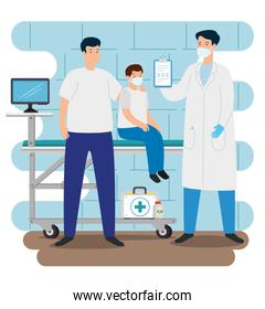 doctor with family in consulting room