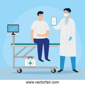 doctor with young man in consulting room