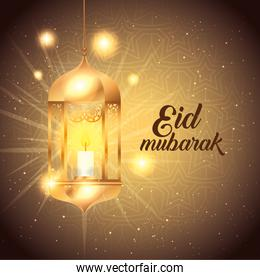 eid mubarak poster with lantern hanging and decoration