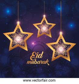eid mubarak poster with stars hanging and decoration