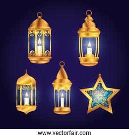 set lanterns with star of eid mubarak decoration