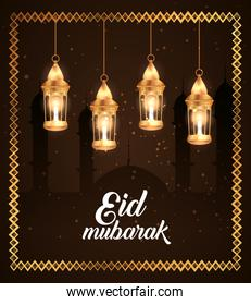 eid mubarak poster with lanterns hanging and silhouette mosque