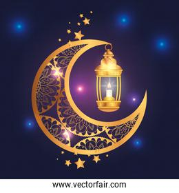 eid mubarak poster with moon and lantern
