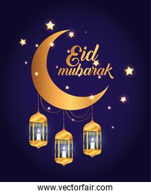 eid mubarak poster with moon and lanterns hanging