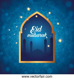 eid mubarak poster with silhouette of mosque and decoration