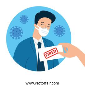 businessman fired of work for covid 19 pandemic