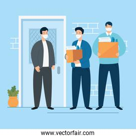 businessmen unemployed and boxes with objects
