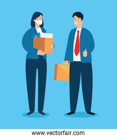 business couple unemployed with box carton