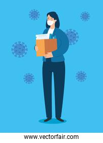 businesswoman sad unemployed with box and particles covid 19
