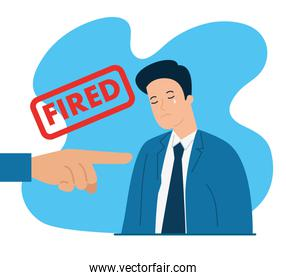 businessman crying fired of work