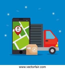 delivery truck with smartphone and location app