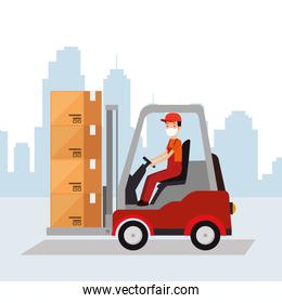 box package cargo in forklift with worker