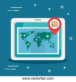tablet device with delivery app and map world