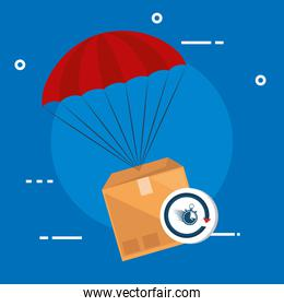 box package with parachute and chronometer