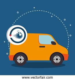 delivery van transportation with chronometer