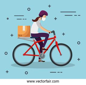 delivery worker female using face mask in bike